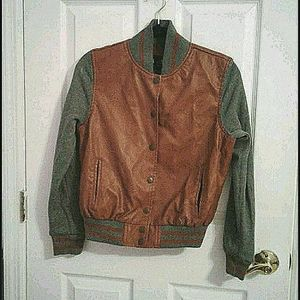 VGT Boy Meets Girl faux leather varsity jacket